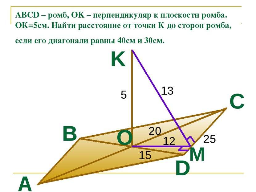 ABCD – ромб, OK – перпендикуляр к плоскости ромба. ОК=5см. Найти расстояние о...