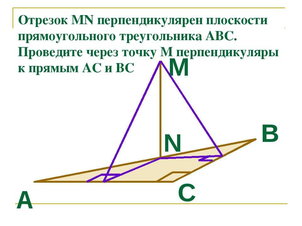 Отрезок MN перпендикулярен плоскости прямоугольного треугольника АВС. Проведи...
