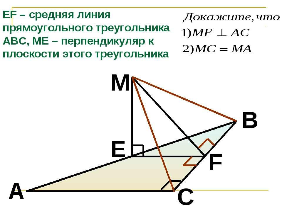 M F E B A C EF – средняя линия прямоугольного треугольника АВС, МЕ – перпенди...