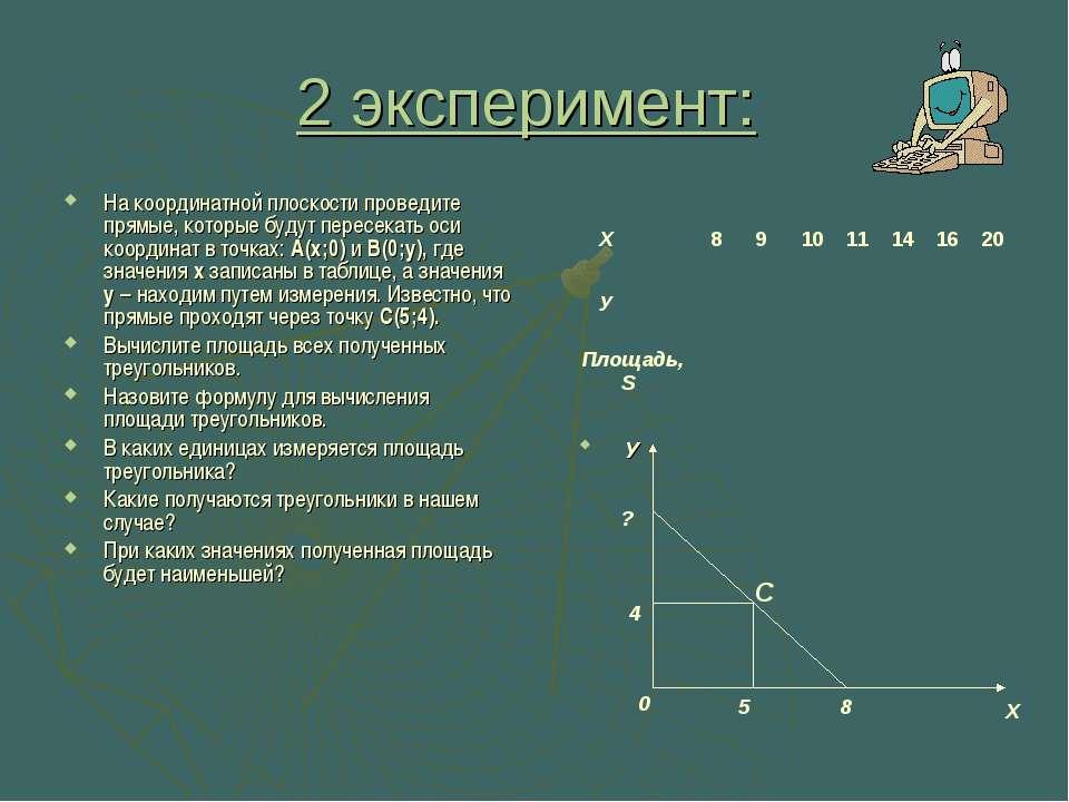 2 эксперимент: На координатной плоскости проведите прямые, которые будут пере...