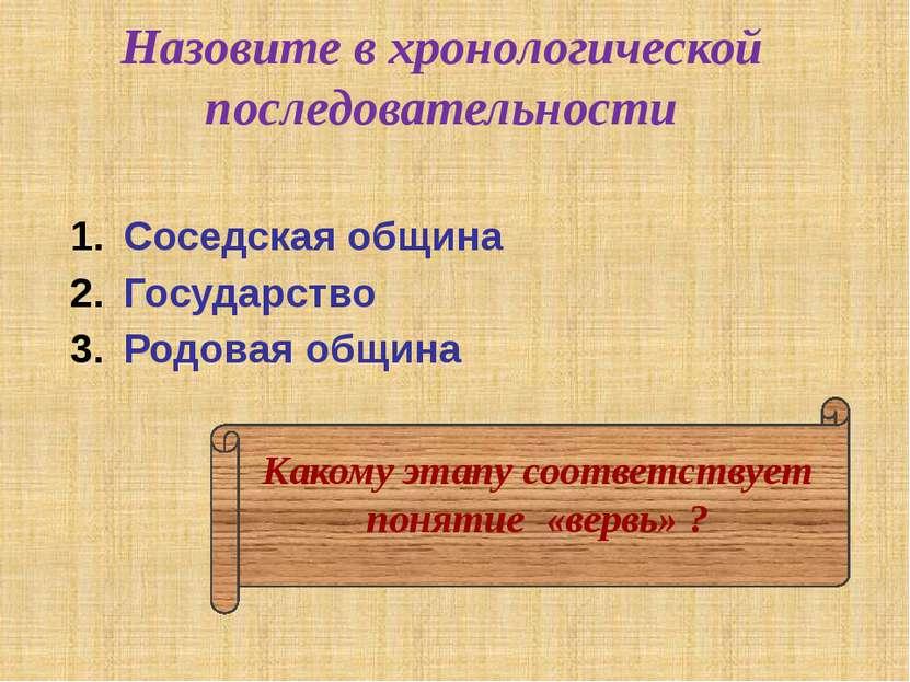 Назовите в хронологической последовательности Соседская община Государство Ро...