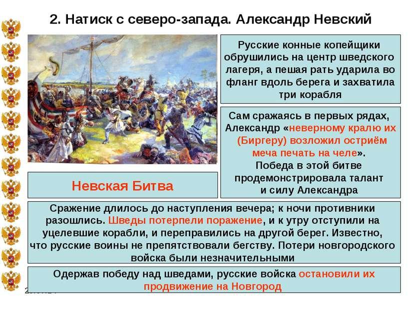 * 2. Натиск с северо-запада. Александр Невский Сам сражаясь в первых рядах, А...