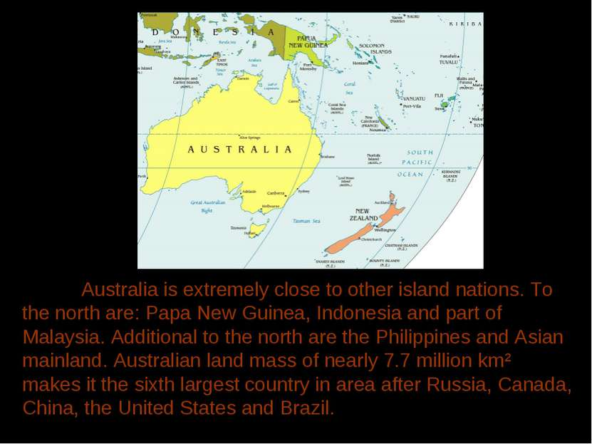Australia is extremely close to other island nations. To the north are: Papa ...