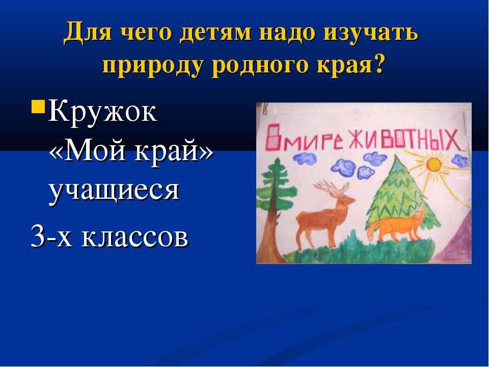 Для чего детям надо изучать природу родного края? Кружок «Мой край» учащиеся ...
