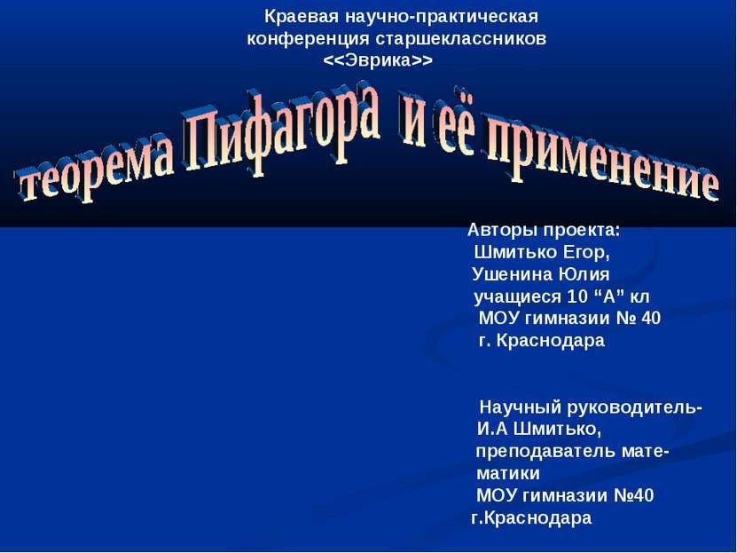 Краевая научно-практическая конференция старшеклассников Авторы проекта: Шмит...