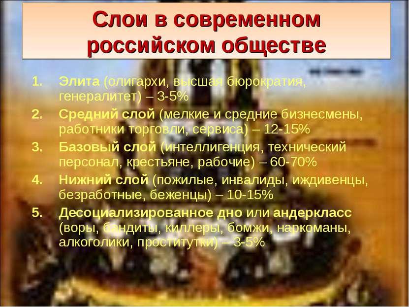 Слои в современном российском обществе Элита (олигархи, высшая бюрократия, ге...