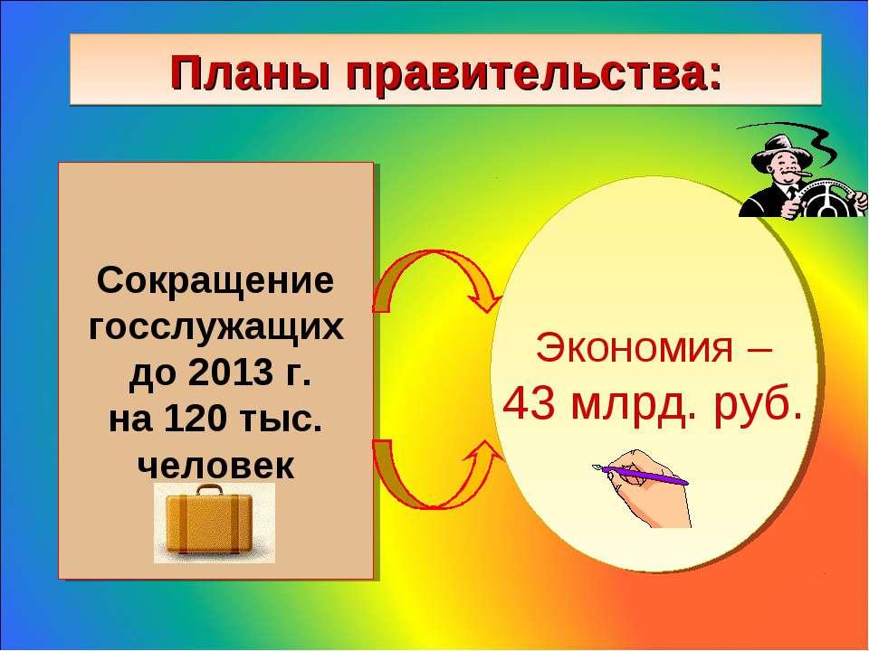 Планы правительства: Сокращение госслужащих до 2013 г. на 120 тыс. человек Эк...