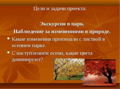 Цели и задачи проекта: Экскурсия в парк. Наблюдение за изменениями в природе....