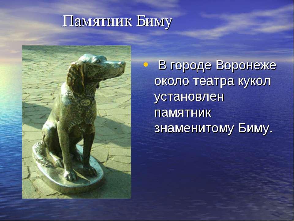 Памятник Биму В городе Воронеже около театра кукол установлен памятник знамен...