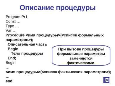 Описание процедуры Program Pr1; Const … Type … Var … Procedure (); Описательн...