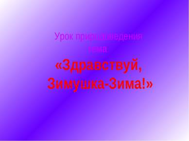 Урок природоведения тема: «Здравствуй, Зимушка-Зима!»