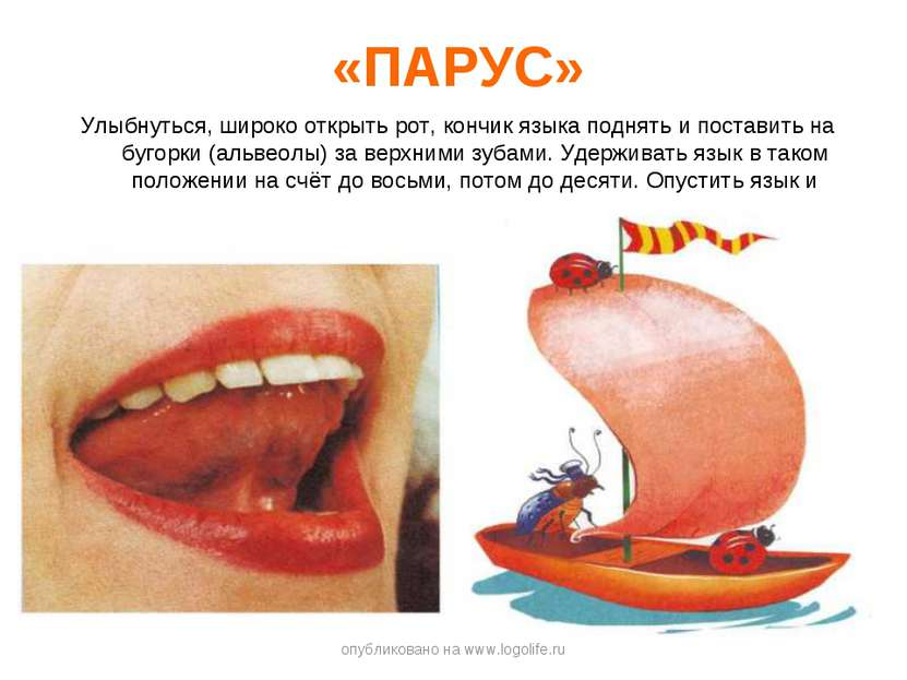 «ПАРУС» Улыбнуться, широко открыть рот, кончик языка поднять и поставить на б...