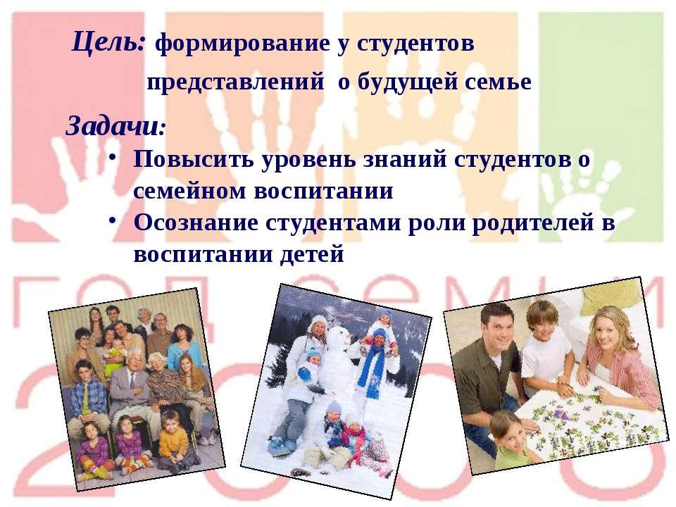 Цель: формирование у студентов представлений о будущей семье Задачи: Повысить...