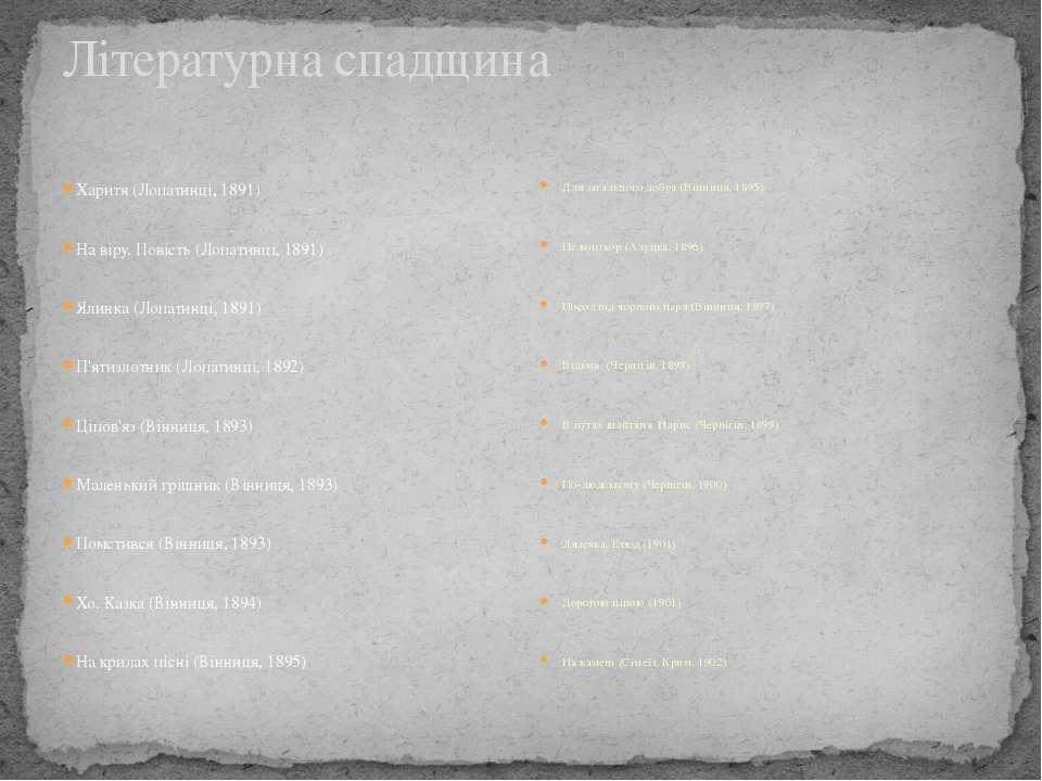 Літературна спадщина Харитя (Лопатинці, 1891) На віру. Повість (Лопатинці, 18...