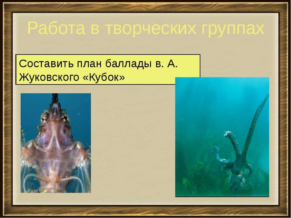 Работа в творческих группах Составить план баллады в. А. Жуковского «Кубок»