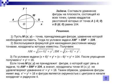 Задача. Составьте уравнение фигуры на плоскости, состоящей из всех точек, сум...