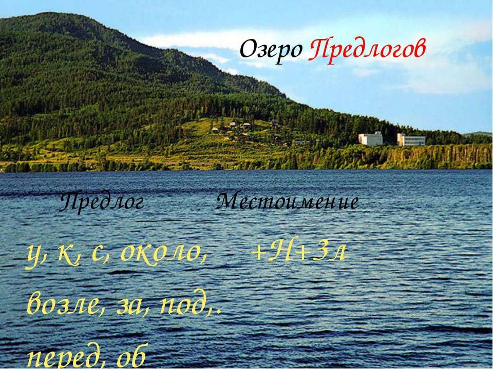 Озеро Предлогов Предлог Местоимение у, к, с, около, +Н+3л возле, за, под,. пе...