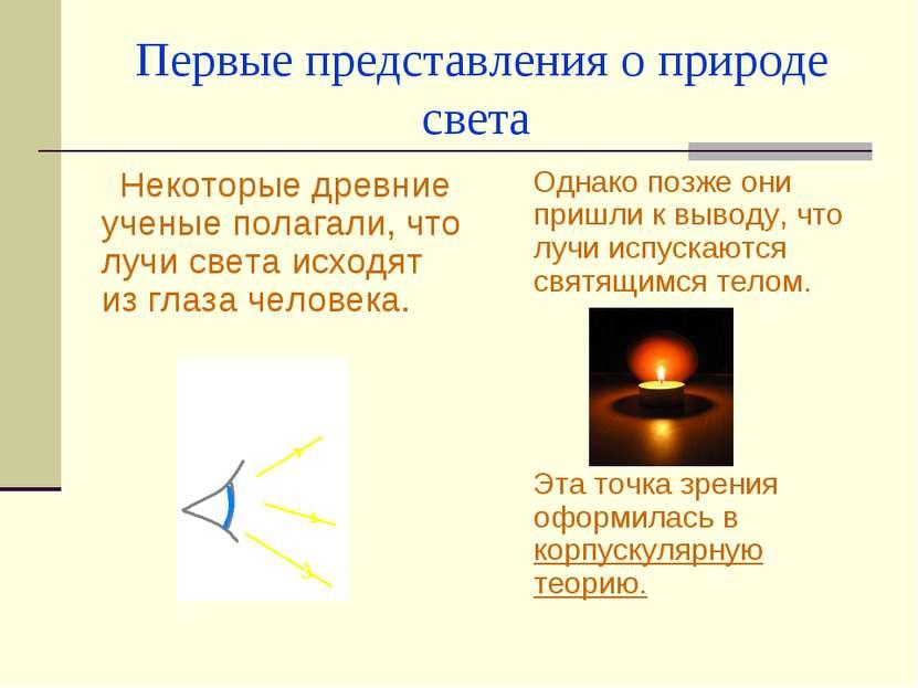 Первые представления о природе света Некоторые древние ученые полагали, что л...