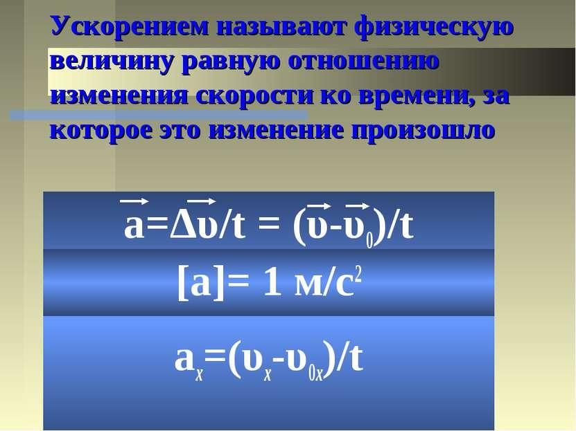 Ускорением называют физическую величину равную отношению изменения скорости к...