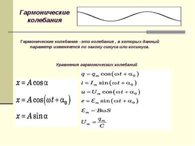 Гармонические колебания Гармонические колебания –это колебания , в которых да...
