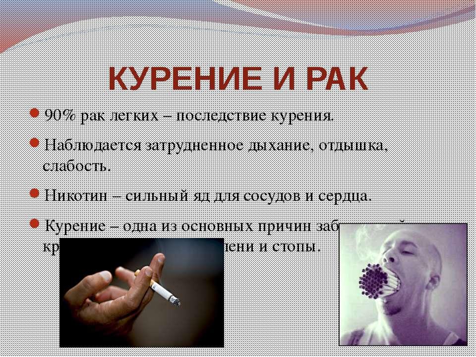 КУРЕНИЕ И РАК 90% рак легких – последствие курения. Наблюдается затрудненное ...