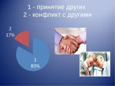 1 - принятие других 2 - конфликт с другими