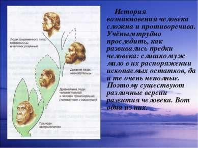 История возникновения человека сложна и противоречива. Учёным трудно проследи...