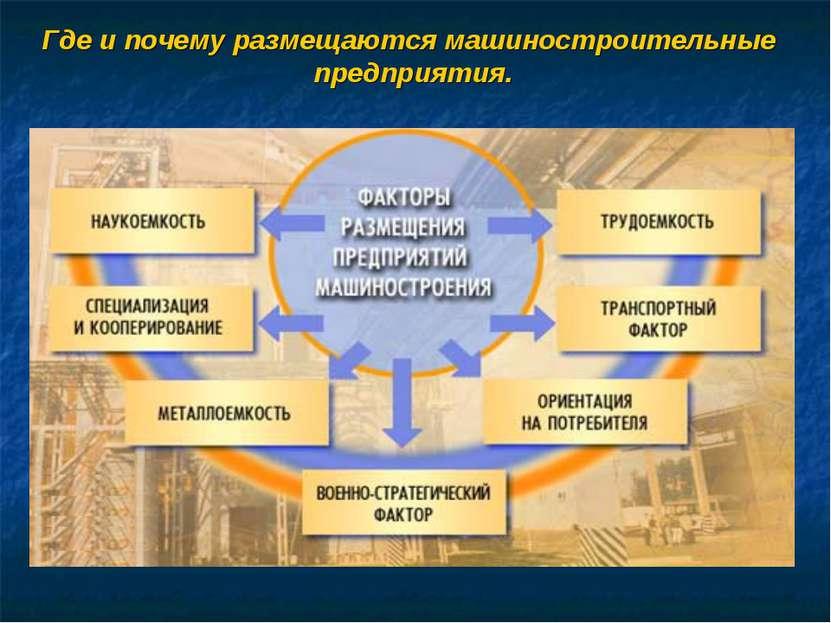 Где и почему размещаются машиностроительные предприятия.