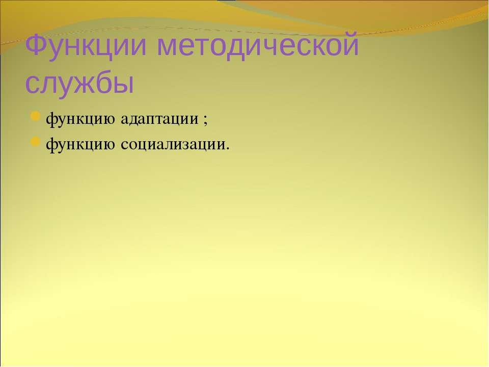 Функции методической службы функцию адаптации ; функцию социализации.