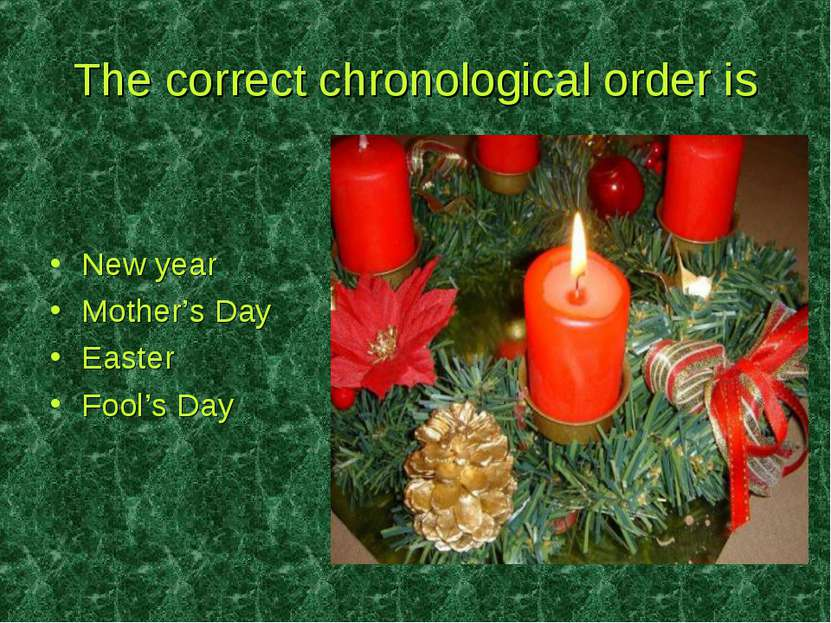 The correct chronological order is New year Mother's Day Easter Fool's Day