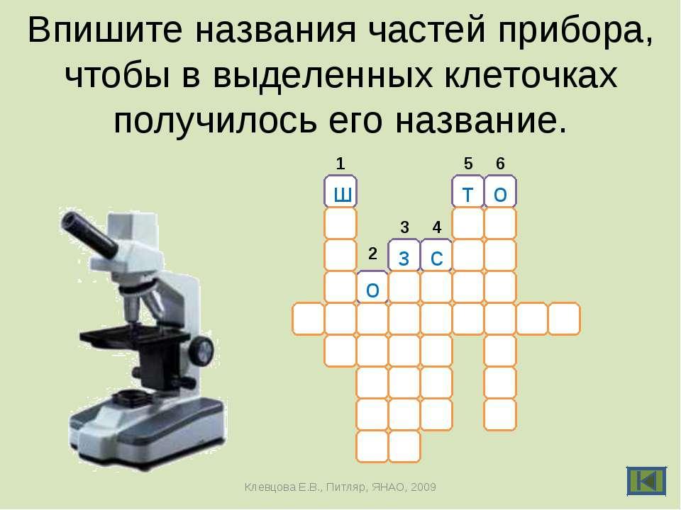 Впишите названия частей прибора, чтобы в выделенных клеточках получилось его ...