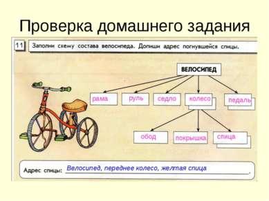 Проверка домашнего задания рама руль седло колесо педаль обод покрышка спица ...