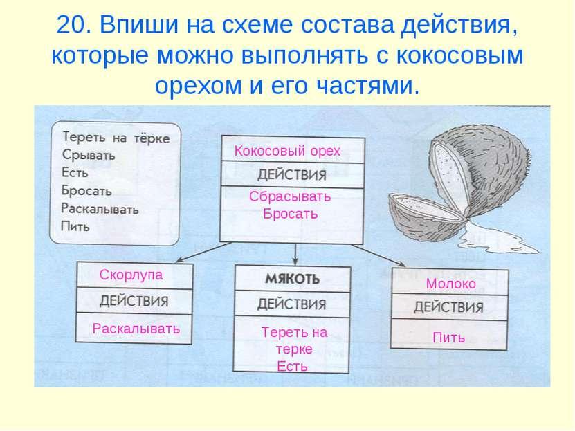 20. Впиши на схеме состава действия, которые можно выполнять с кокосовым орех...