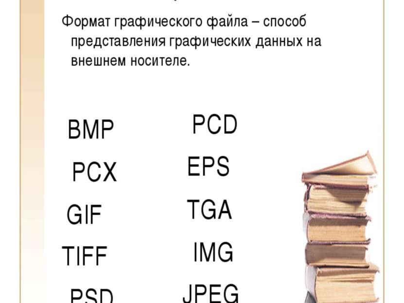 Форматы графических файлов Формат графического файла – способ представления г...