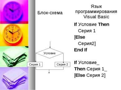 Условие Серия 2 Серия 1 Блок-схема Язык программирования Visual Basic If Усло...