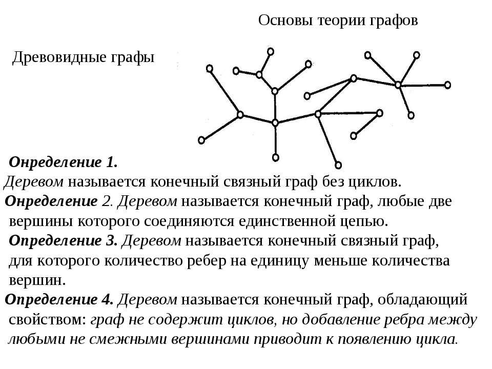Основы теории графов Древовидные графы Онределение 1. Деревом называется коне...