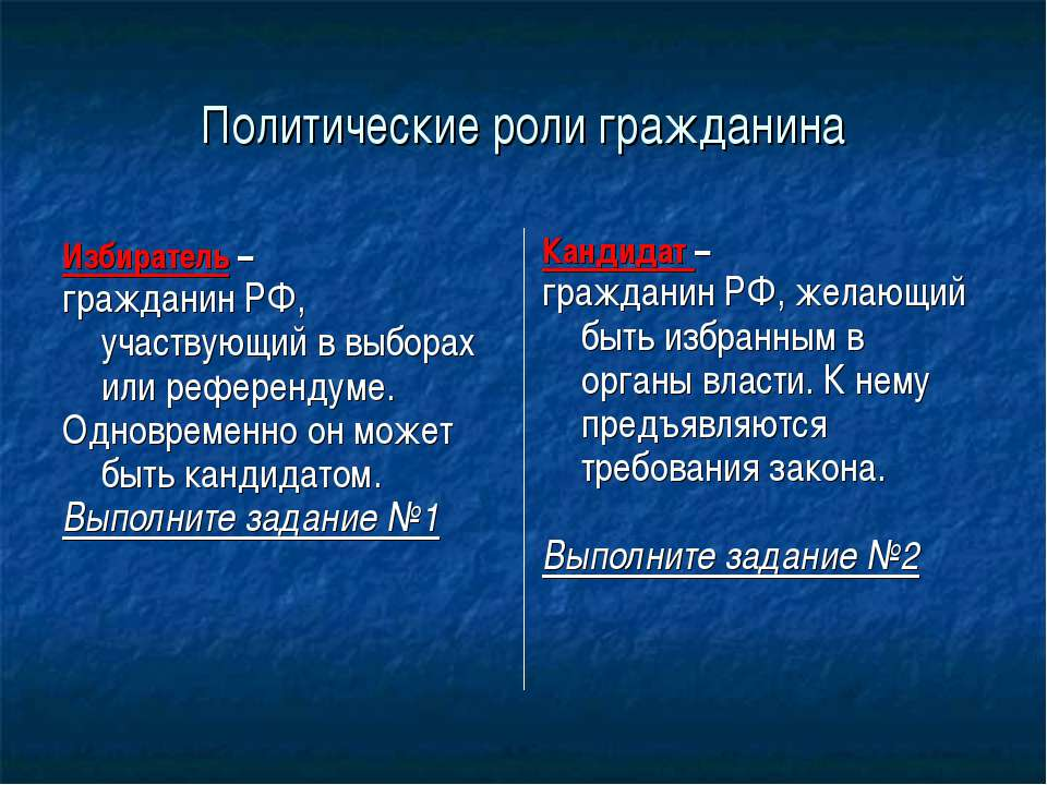 Политические роли гражданина Избиратель – гражданин РФ, участвующий в выборах...