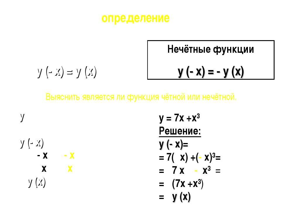 y = 7x +x³ Решение: y (- x)= = 7(- x) +(- x)³= = - 7 x - x³ = = - (7x +x³) = ...