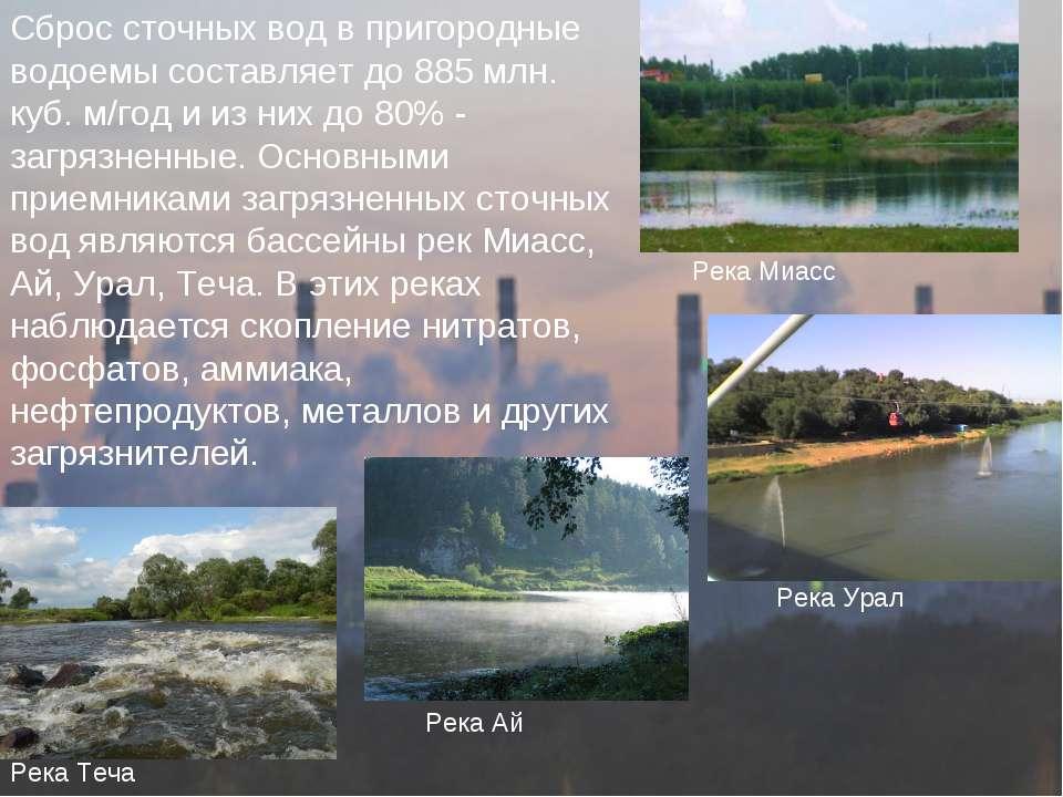 Сброс сточных вод в пригородные водоемы составляет до 885 млн. куб. м/год и и...