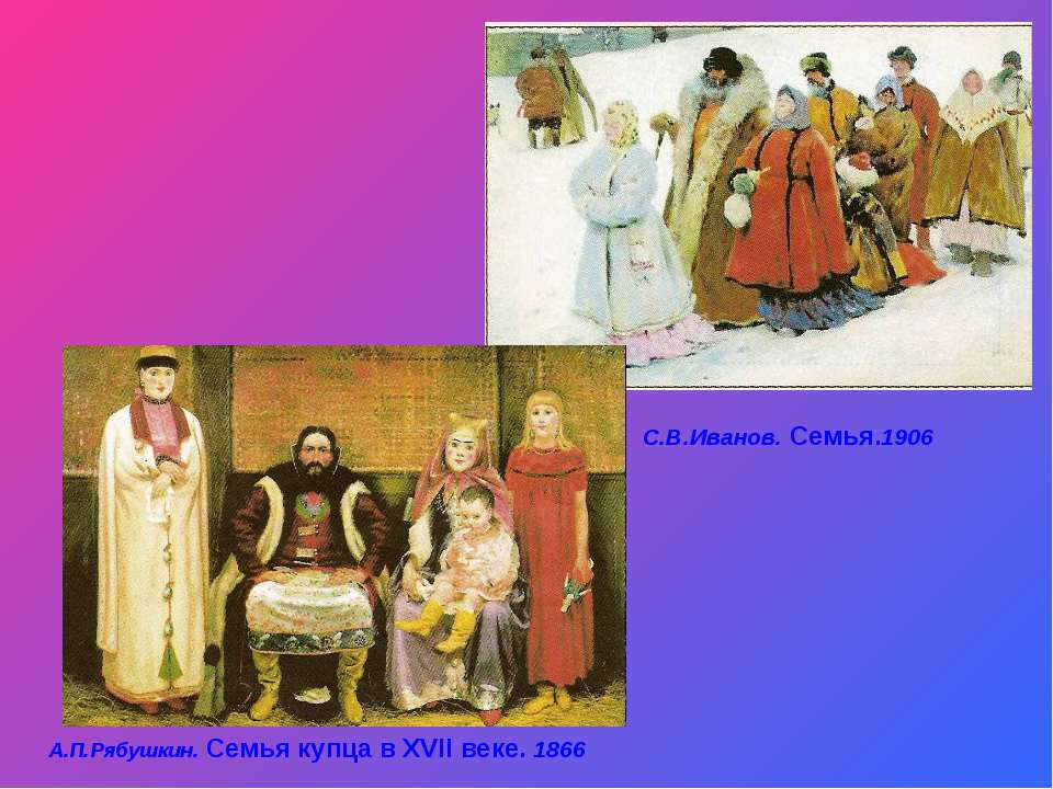 А.П.Рябушкин. Семья купца в XVII веке. 1866 С.В.Иванов. Семья.1906