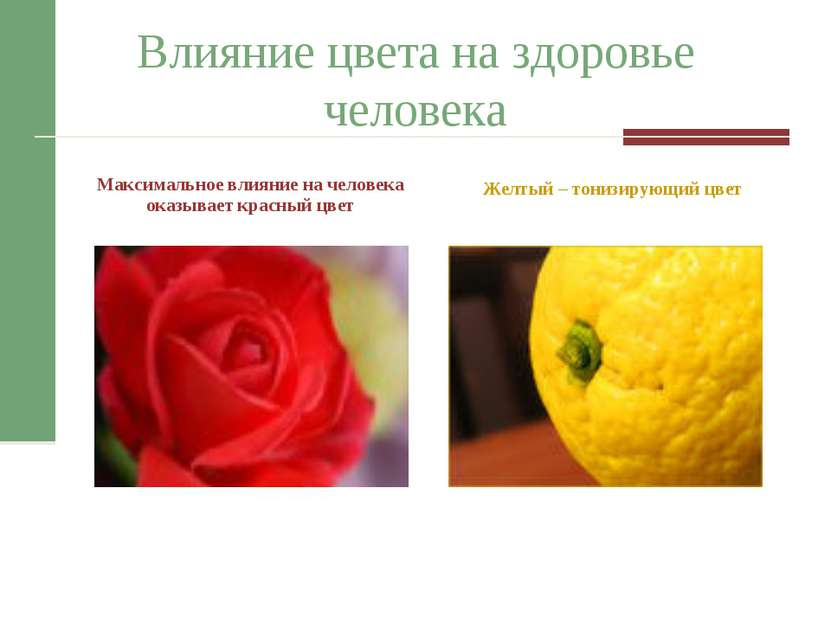 Влияние цвета на здоровье человека Максимальное влияние на человека оказывает...