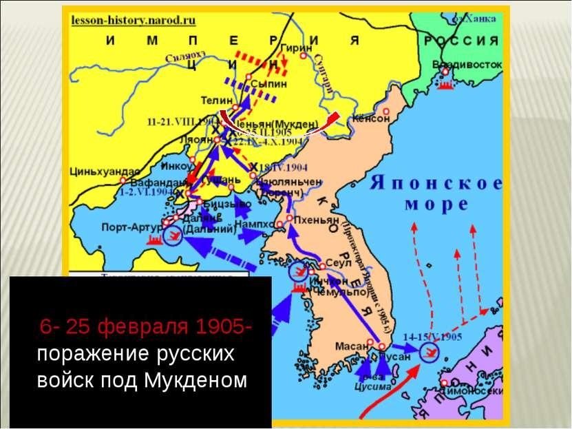 6- 25 февраля 1905- поражение русских войск под Мукденом