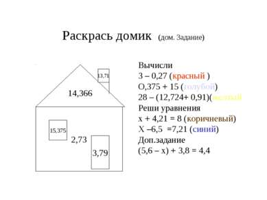 Раскрась домик (дом. Задание) Вычисли 3 – 0,27 (красный ) О,375 + 15 (голубой...