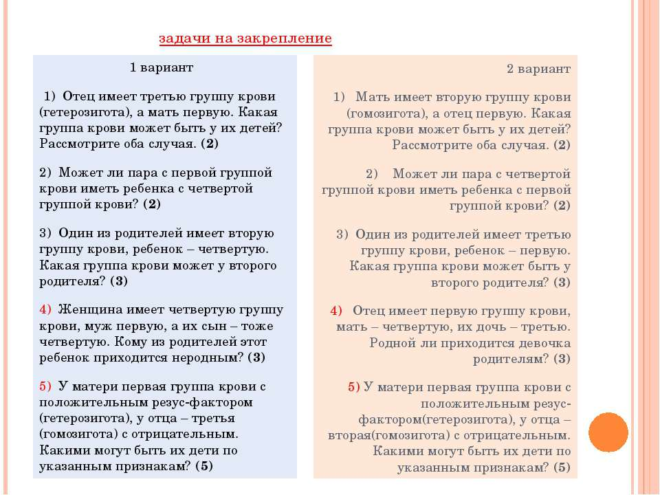 задачи на закрепление 1 вариант 1) Отец имеет третью группу крови (гетерозиго...