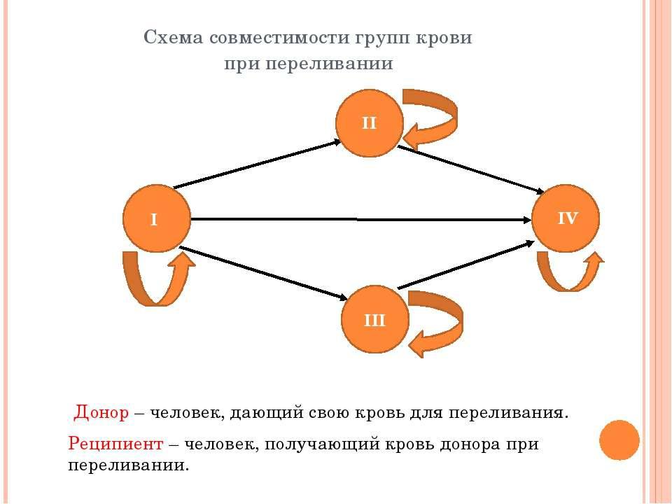 Схема совместимости групп крови при переливании Донор – человек, дающий свою ...