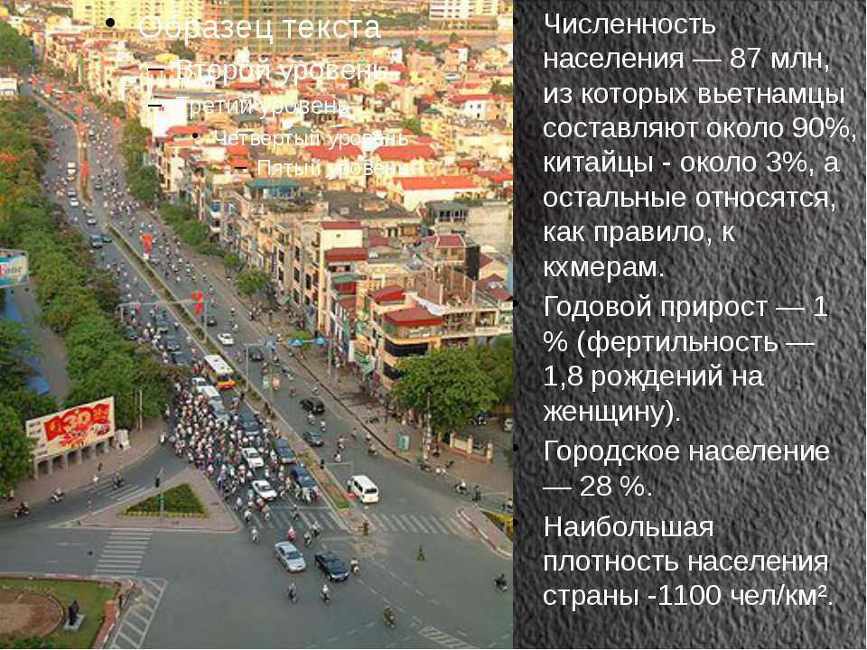 Численность населения — 87 млн, из которых вьетнамцы составляют около 90%, ки...