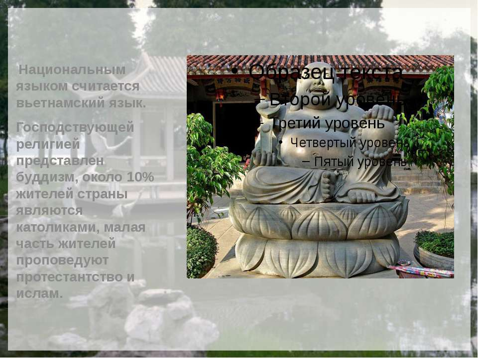 Национальным языком считается вьетнамский язык. Господствующей религией предс...