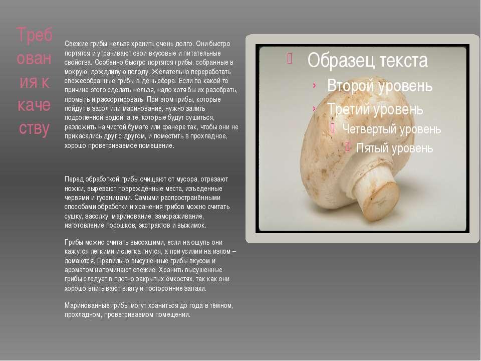 Требования к качеству  Свежие грибы нельзя хранить очень долго. Они быстро п...