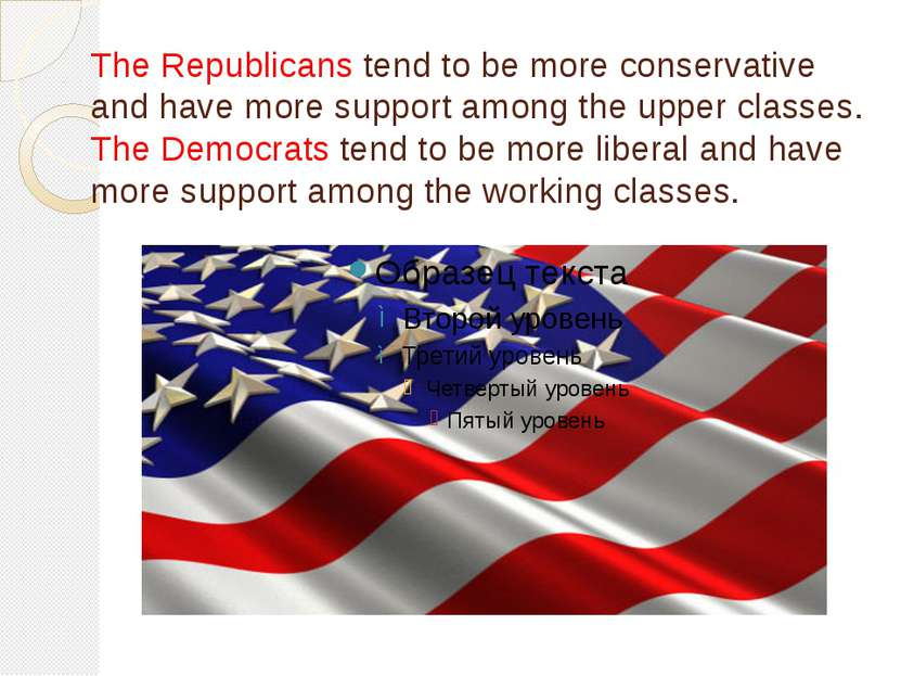 The Republicans tend to be more conservative and have more support among the ...