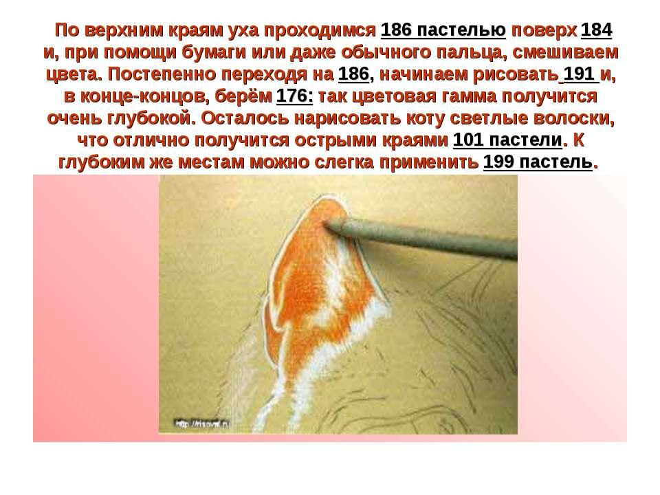 По верхним краям уха проходимся 186 пастелью поверх 184 и, при помощи бумаги ...